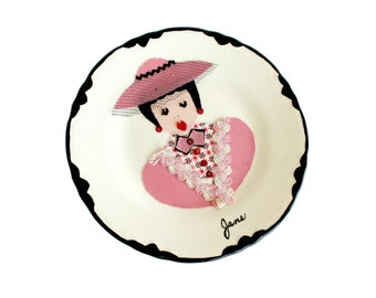 Vintage Ma and Pa Plate Kitchen Kitsch Decorated Personalized