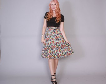 Vintage 70s WRAP SKIRT / 1970s Soft Floral Print Cotton Boho Skirt