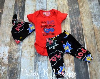 Infant Boy's Superhero Comic Book Saying Pants, Bodysuit and Knot Hat Set - Can be Personalized - Coming Home Outfit