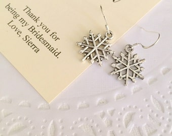 Snowflake charm earring, winter wedding, personalized notecard and jewelry box.