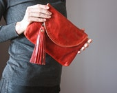 Red leather clutch,  leather purse, Multi Pockets Leather Wallet, leather fringe tassel, cowhide , credit card slots