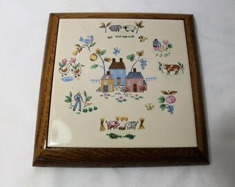 Vintage Good Wood Barnyard Ceramic Tile Trivet or Wall Hanging