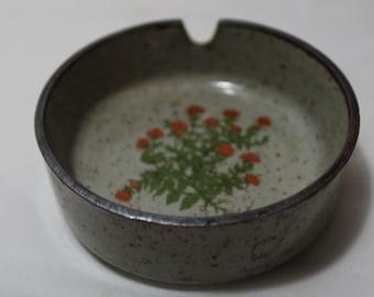 Vintage TAKAHASHI Small Stoneware Ashtray, Orange Flowers