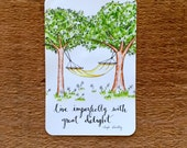 STICKER - Live Imperfectly with Great Delight // Hammock Art - Bumper Sticker / For Laptop / Cell Phone Sticker / Coffee Cup / Gift under 5