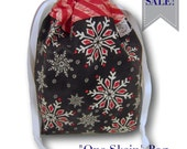 "SALE Chalkboard Snowflakes - ""One Skein"" Holiday Project Bag for Knitting, Crochet, or Embroidery"