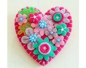 ON SALE - 15% off - Japanese Art Inspired Heart Shape Felt Brooch