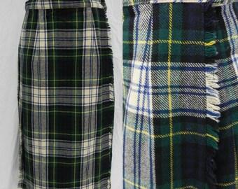 Vintage Laird Portch of Scotland plaid wool kilt skirt