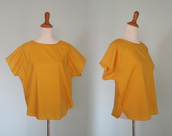 Bright 80s Saffron Yellow Boxy Top - Vintage Silky Gold 80s Top - Vintage 1980s Blouse M L