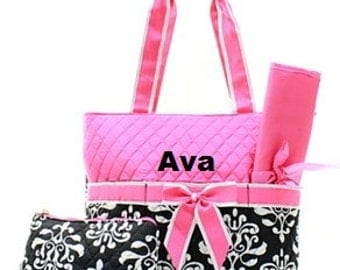 Personalized Damask Diaper Bag with Changing Pad and Zipper Bag