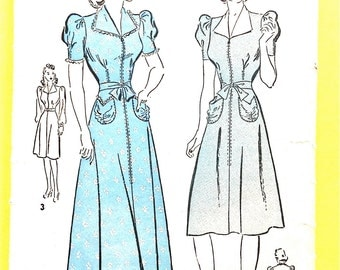Advance 2492 1940s Housecoat with short sleeves and tie-belt  long-sleeve dress  Vintage Sewing Pattern Bust 32