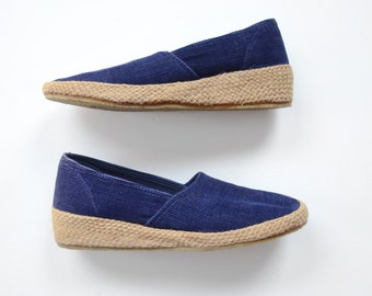 Grasshoppers 1970s Navy Corduroy Wedges US7.5