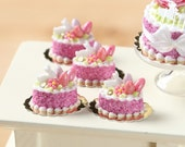 Easter Individual Pastry Decorated with Candy Eggs and Bunny - Dark Pink - Miniature Food in 12th Scale for Dollhouse