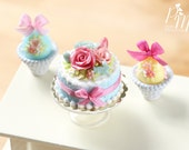 MTO-Easter Cake with a Trio of Colourful Spring Roses, Eggs and Tiny Rabbit - Miniature Food in 12th Scale for Dollhouse