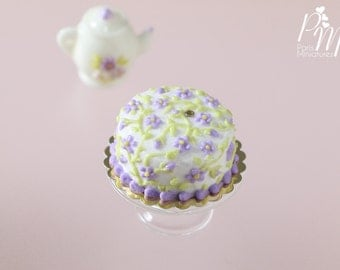 MTO -Lilac Blossoms Cake - Miniature Food for Dollhouse 12th scale 1:12