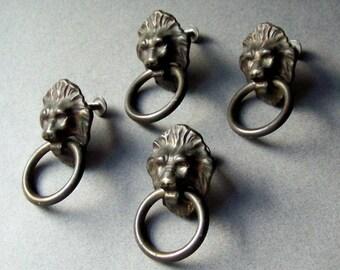 Vintage Lion's Head Drawer Pulls ~ Metal Drawer Handles ~ Set of 4