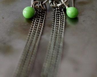 Original handmade glass drop and chain long dangle earrings