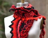 Cashmere red black SCARF Wrap Shawl, boho textured Winter accessory with crochet ruffle, pom poms and snowflake appliqué