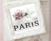 Paris Shabby Chic Framed Print, Paris Pink and Black Art, Pink Roses and Book Print, Shabby Chic Decor, Paris Framed Photo, Paris Roses Book