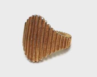 Trifari Statement Ring - Adjustable - Gold Tone Vintage Ring