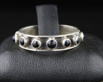 Mexican Sterling Ring, Modernist Ring, Onyx Ring, Sterling Silver, 1980's Ring, Sz 8, Mexican Silver Ring, Mexican Jewellery, Mexican Silver