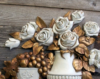 Stunning Large 1973 Syroco White and Gold Roses and Fruit Wall Hanging