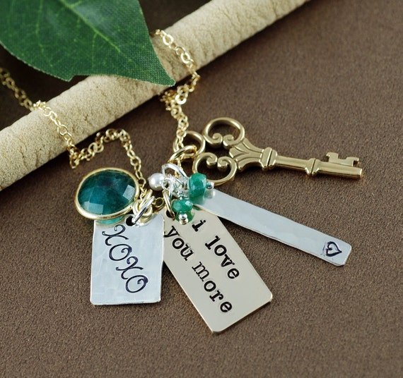 I Love You More Necklace, Personalized Necklace, Cluster Style Jewelry, Love You More, KeepSake Jewelry, XOXO Necklace, Emerald Necklace