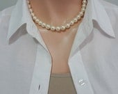 Swarovski Large Pearl Necklace, Wedding Necklace, Mother of the Bride Necklace, Mother of the Groom Necklace, Swarovski Ivory Pearl Necklace