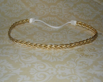 Gold Braided Headband, Gold Baby Halo Headband, Newborn Headband, Gold Headband, Toddler Headband Infant Headband Boho Headband Gold & white