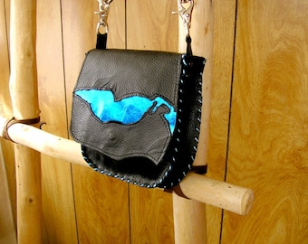 """Black and Metallic Royal Blue Leather Purse, Cross-body Bag, whip-stitched, magnetic snap, 44"""" removable leather strap, 7"""" x 7""""  x 1.5"""""""