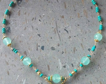 Tibetan Turquoise Necklace, Aqua Chalcedony, Wire Wrapped Necklace,  Blue Green Stone Necklace, Bohemian Hippie Chic Necklace, OOAK Necklace