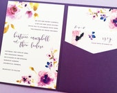 Purple Peony Wedding Invitation, Pocket Fold Wedding Invitation, Pocket Invitation, Pocketfold Wedding Invite Invitation Suite Set