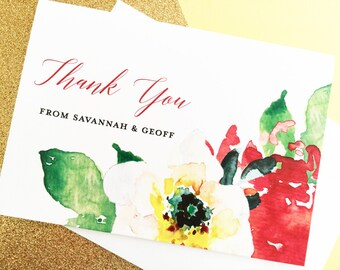 Thank You Cards, Thank You Note Cards, Wedding Thank You Cards, Watercolor Thank You Card Set, Floral Thank You Cards, Floral Note Cards