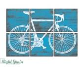 Bicycle Wall Art - Large Road Bike Print - Colorful Bicycle Print on Wood Panels