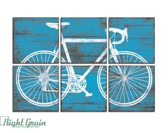 Bicycle Wall Art - Large Road Bike Print - Colorful Bicycle Print on Wood Panels