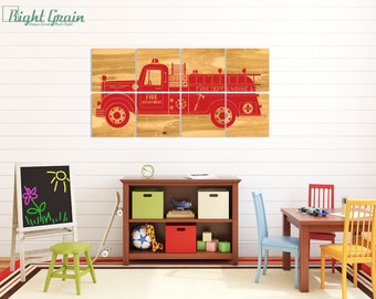 Vintage Fire Truck Wall Art - Boys Room Print Decor - Boys Nursery Fire Engine Artwork 24x48