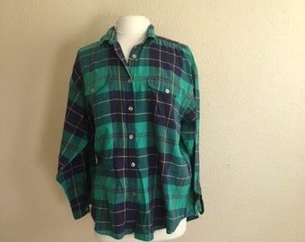 Vintage GREEN PLAID Button Up Shirt With POCKETS / Koret City Blues / Womens Medium Large