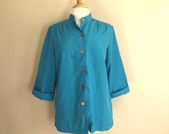 Vintage TURQUOISE Blue Button Up Blouse / 80s BLAIR Top / Womens Large