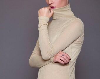 Lightweight cotton rib turtle neck top - long sleeves basic top - turtle neck shirt - winter basic top