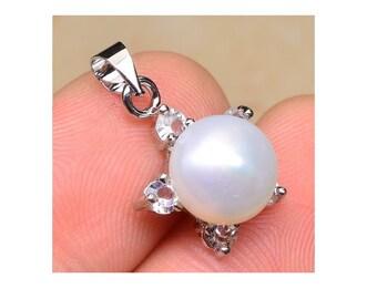 White Pearl Pendant, Genuine Cultured  Pearl And   Cubic Zirconia  Diamonds , Freshwater Pearl Pendant