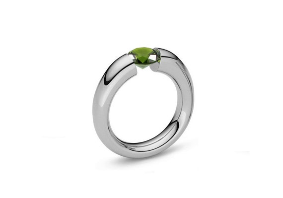Peridot Tension Set Ring Tapered Mounting in Stainless Steel