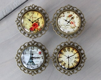 Vintage Clock Drawer Knobs - Cabinet Knobs - dresser knobs MORE designs available