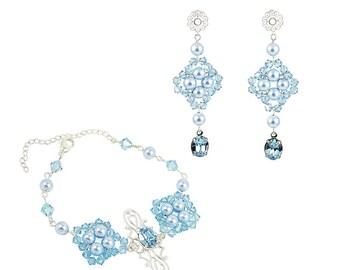 Ginnifer Bridesmaid Jewelry Set, Bridesmaid Jewelry Gift, Vintage style Boho Wedding Jewelry Earrings Bracelet Set, Something Blue Jewelry