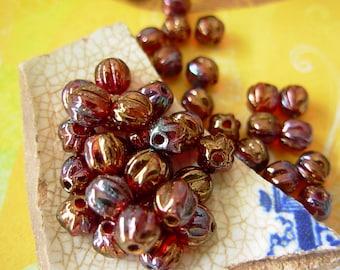 5mm Czech Fluted Melon Glass Beads- Ruby Bronze Iris (50)
