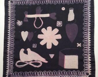 Hand Screen Printed Silk Love Token Handkerchief Black/Pink/Cream