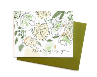 White Roses and Sage Thinking of You, Sophisticated Floral Sympathy Card