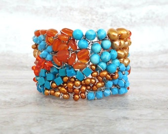 Beaded Wired Cuff-Turquoise and Orange Wire Wrapped Watercolor Bohemian Bracelet Sharona Nissan