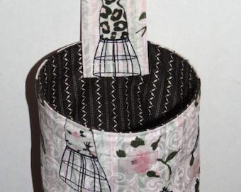 Thread Catcher Bag, Pin Cushion, Catch-all Scrap Caddy, Pink Flowers Grey Dress Forms Black Stripe