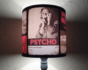 """Hitchcock """"Psycho"""" red lampshade - lighting, Bates Motel, accent lamp shade, thriller movie, horror decor, lampshade, movie poster,dorm room"""