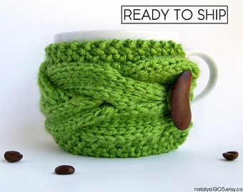 Greenery Coffee Cozy, Coffee Mug Cozy, Green Tea Cozy, Coffee Cup Sleeve, Coffee Cup Cozy, Coffee Sleeve, Vegan Gift, Yoga Gifts, Tea Gifts