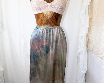 XSmall Tie Dye Skirt/Ice Dyed Vintage Skirt/Upcycled Clothing/Hippie Tie Dye Skirt/Tie Dye Lace Skirt/Upcycled Skirt/French Fairy